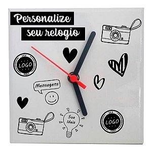 Relógio Azulejo Quadrado Personalizado 20x20