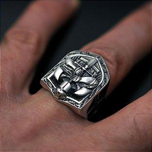 Anel cavaleiro templário - ordem dos cavaleiros em prata 950k