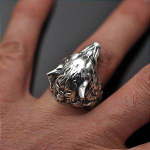 Anel Lobo com arabescos nas laterais em prata 950k
