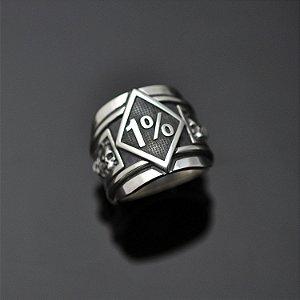 Anel 1% com caveiras em prata 950k