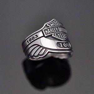 Anel Harley-Davidson 100 Anos Em Prata