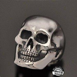 Anel Crânio liso com mandíbula em prata 950k