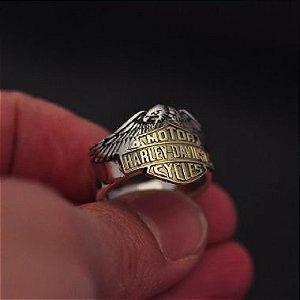 Anel Harley-Davidson Águia em prata detalhe em ouro 12K