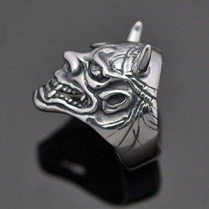 Anel Máscara de Samurai Hanya em prata 950K