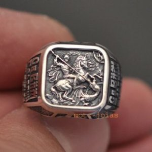 Anel São Jorge Santo Guerreiro com escrita em russo em prata 950k