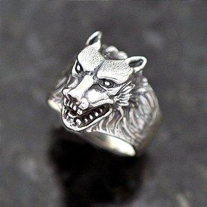 Anel Lobo em prata 950k