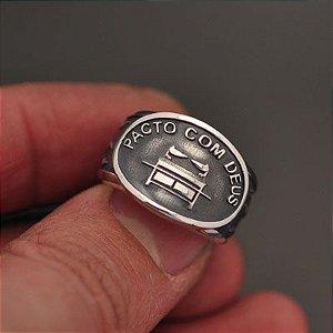 Anel Pacto com Deus em prata 950k