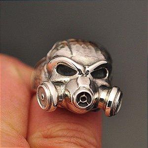 Anel Máscara de Gás em Prata 950K