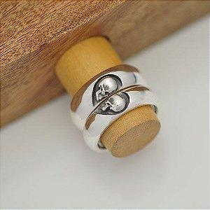 Par de alianças caveiras coração em prata 950k 8 mm (masculina) e 6 mm (feminina) - abaulada