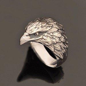 Anel  Águia Pequena Preta em prata 950k