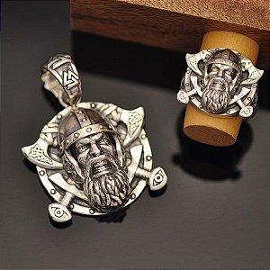 Conjunto Anel e Pingente Viking em prata 950k