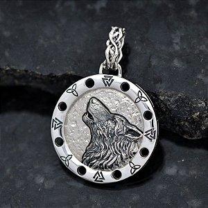 Medalhão/Pingente Lobo com Forro em Prata 950k