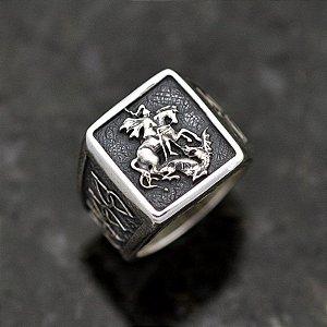 Anel São Jorge Masculino em Prata 950k