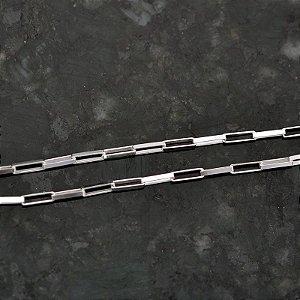 Corrente elos quadrados em Prata 925k