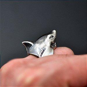 Anel Tubarão Branco em prata 950k (G)