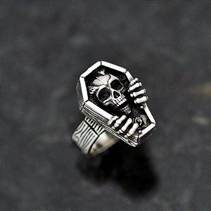 Anel caixão halloween em prata 950k