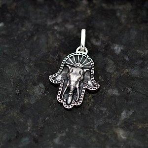 Pingente Mão do Buda com Elefante em Prata 950k