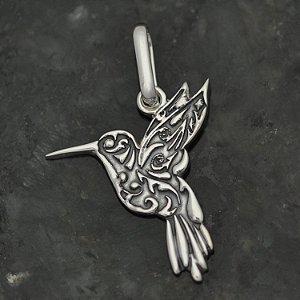 Pingente Colibri/Beija-Flor Tribal em Prata 950k