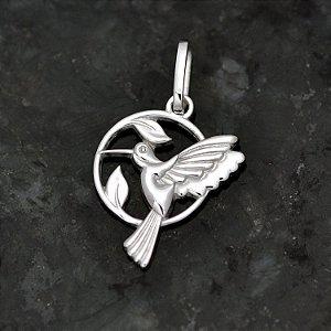 Pingente Beija-Flor dentro do Círculo em Prata 950k - Pequeno
