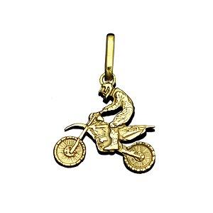 Pingente Motocross Motociclista em Ouro 12K Amarelo