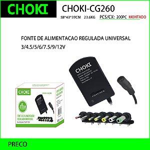 CHOKI-CG260 FONTE DE ALIMENTAÇÃO REGULADA UNIVERSAL -  3/4.5/5/6/7.5/9/12V