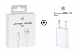 KIT CARREGADOR + CABO APPLE IPHONE 5,5S 6