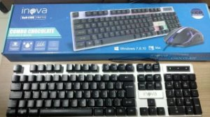 Teclado e Mouse c/ Fio - Combo Chocolate - Gamer KEM-6106