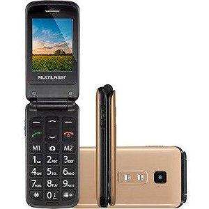 Celular Dourado Flip Vita Tela De 2,4 Polegadas Bluetooth