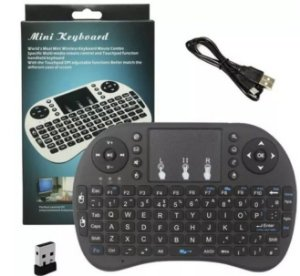 Mini Teclado Mouse Sem Fio Touchpad Wireless Wifi Android Tv USB Ps3 Xbox Preto