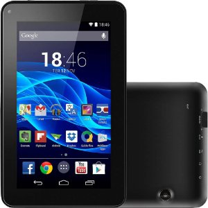 Tablet Multilaser M7S Quad Core Preto Android 4.4 Kit Kat Dual Câmera Wi-Fi Tela Capacitiva 7 Pol. Memória 8GB - NB184