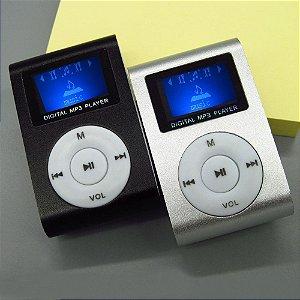 MP3 Player com Entrada SD e Fone de Ouvido - Prata