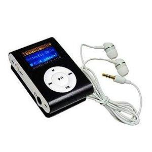 MP3 Player com Entrada SD e Fone de Ouvido Preto + Cartão Micro Sd 16gb