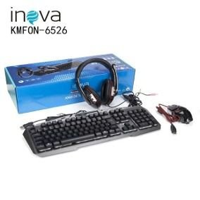 Kit Gamer Teclado, Headset e Mouse Inova kmfon-6526