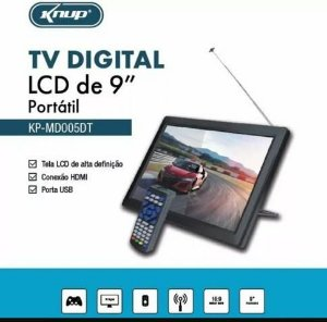 Tv Digital Portátil Lcd Monitor Hd Knup 9 Polegadas Usb Sd