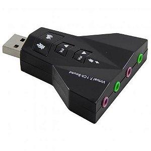 Adaptador Placa de Som USB 7.1 entrada P2 (fone e microfone)