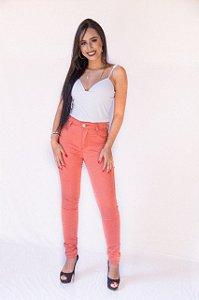 19fe876fb Calca Jeans Feminina Cintura Alta Com Lycra Hot Pants Laranja
