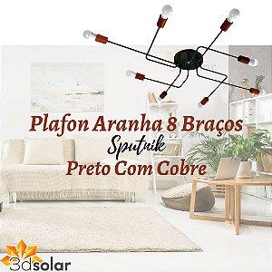 Plafon Aranha Sputnik Preto Com Cobre - 8 Braços