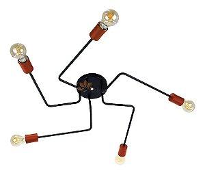Plafon Aranha Sputnik Preto C/ Cobre - 5 Braços