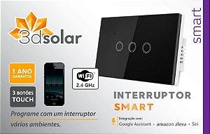 Interruptor Wi-fi Inteligente 3 Botões Touch Screen Smart Alexa Google Home