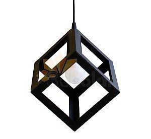 Pendente Luminária Cubo Preto Fosco + Lâmpada Led 4,7w