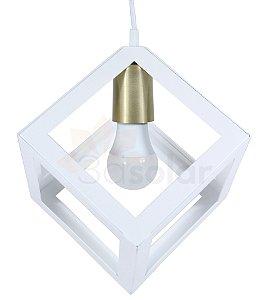 Pendente Luminária Cubo Branco + Lâmpada Led 4,7w ⭐️⭐️⭐️⭐️⭐️