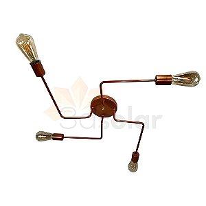 Plafon Aranha Sputnik Cobre  - 4 Braços