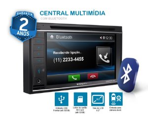 SP8520BT Central Multimídia Positron 2 DIN  tela LCD de 6.2  touch screen Bluetooth USB AUX P2