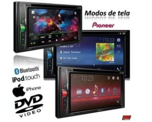 DVD Player Automotivo Pioneer AVH-A208BT 2 Din 6.2 Polegadas Touch Screen Bluetooth Interface para iOS Leitor de CD e DVD USB Auxiliar P2 MP3 Rádio AM FM