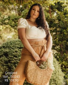 CROPPED PLUS SIZE OFF WHITE REF 700243