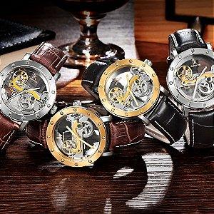 60efe224038 Relógio automático unissex original a prova d água inoxidável e pulseira  couro genuíno autêntico alemão