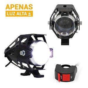 Farol de LED Milha Moto Cree U5 15w 3000 Lumens + Controle Guidão Luz Alta - Par