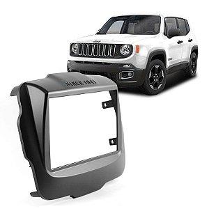 Moldura 2 Din para Jeep Renegade 1516 - Preta - Acabamento Uv Protection
