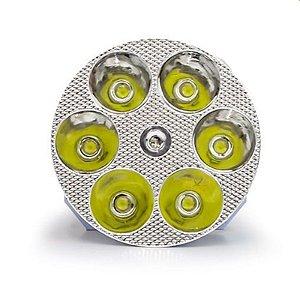 Farol de LED Milha Moto 18w 6 LEDs Spot - Redondo Embutir - 12V - Und