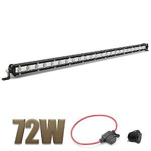 Farol de Milha Barra LED 72w 24 LEDs CREE Slim Fina 65cm 27 Pol + Fuse / Botão - Und
